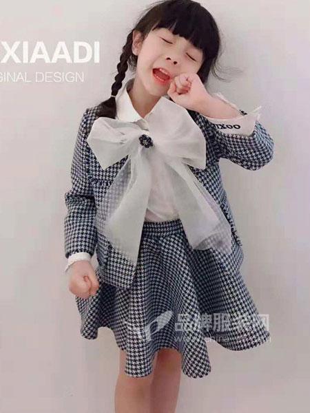 大茜小点童装品牌2018秋冬蝴蝶结格子小香风套装