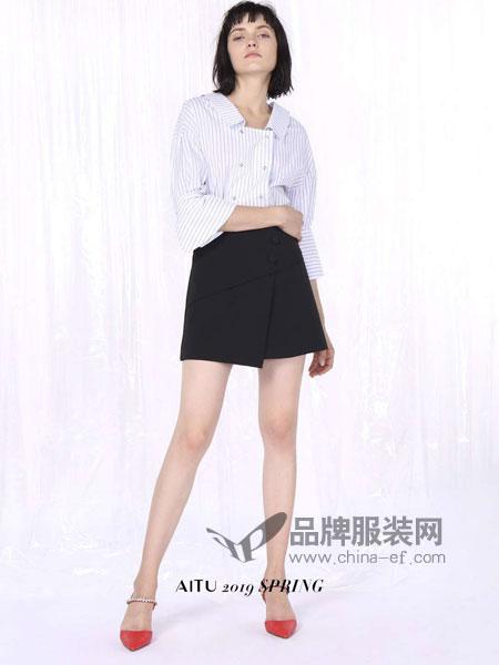 艾托奥女装品牌2019春季竖条纹长袖衬衫