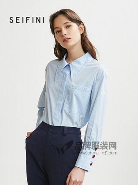 诗凡黎女装品牌2019春季宽松长袖衬衣气质设计感衬衫