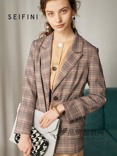 诗凡黎女装品牌2019春季韩版气质英伦风格子西装外套