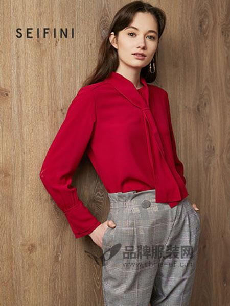 诗凡黎女装品牌2019春季长袖衬衣气质设计感小众雪纺衫