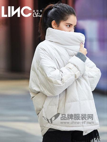金羽杰女装品牌2018秋冬立领丝绒拼接茧型羽绒服女短款韩版外套