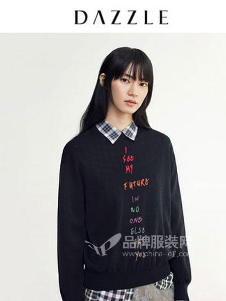 DAZZLE地素女装品牌2019春季洋气绣花字母短款针织衫毛衣