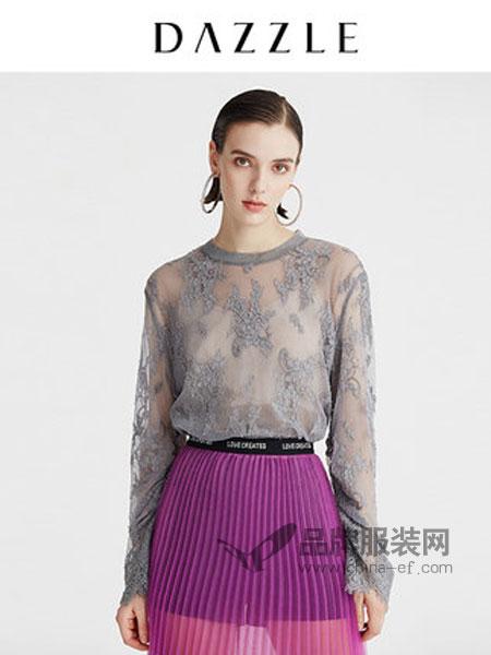 DAZZLE地素女装品牌2019春季性感花纹抽褶圆领上衣蕾丝衫