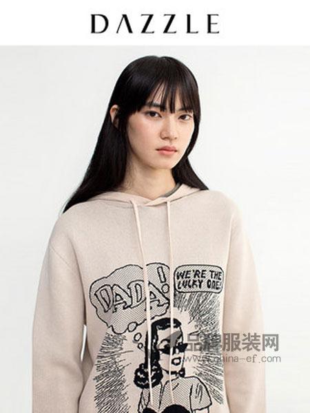 DAZZLE地素女装品牌2019春季宽松童趣漫画提花连帽针织毛衣