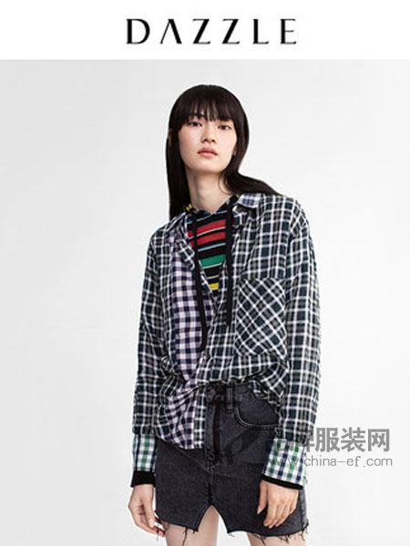 DAZZLE地素女装品牌2019春季宽松复古格纹拼接色彩衬衫
