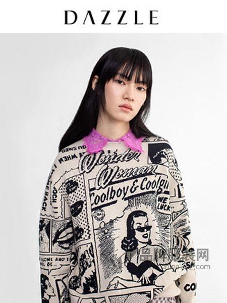 DAZZLE地素女装品牌2019春季宽松童趣漫画提花圆领针织毛衣