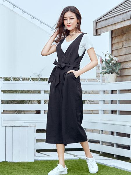 集韩号女装品牌夏装高腰背带连衣裙