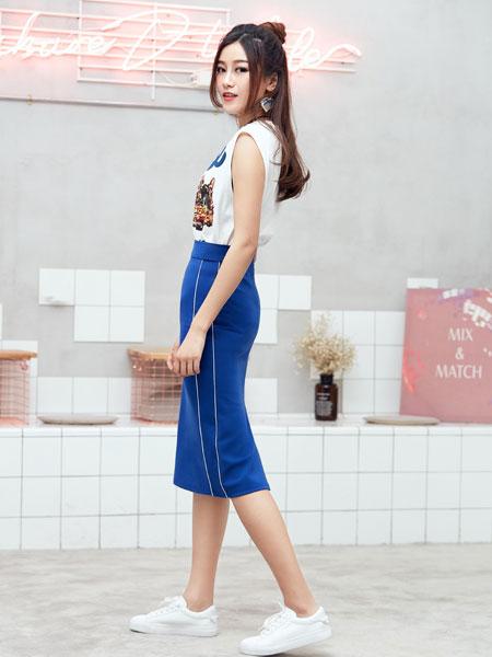 集韩号女装品牌夏装无袖高腰包臀裙