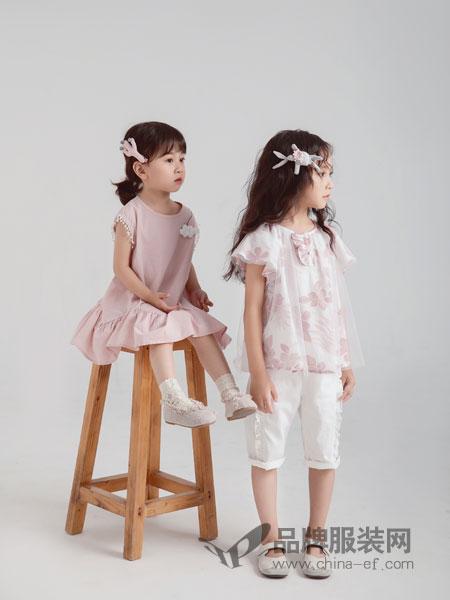 林芊美眉童装品牌2019春季新款水墨印花短袖两件套