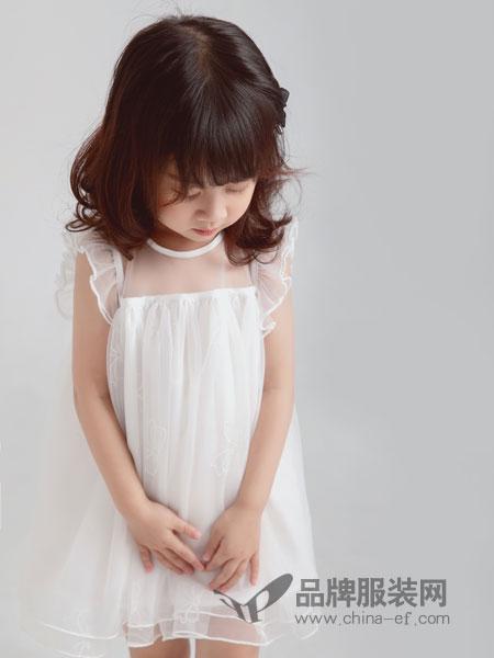林芊美眉童装品牌2019春季拼接镂空甜美连衣裙背心裙