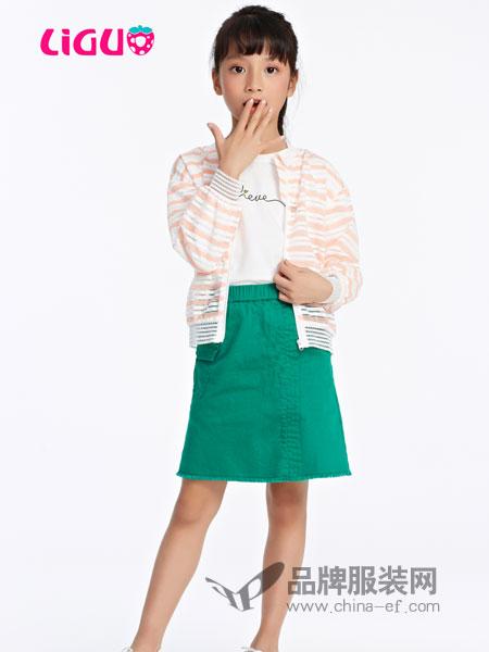 力果童装品牌2019春夏儿童条纹中大童开衫外套薄透气