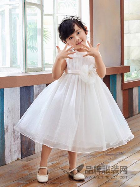 嗒嘀嗒童装品牌2019春季儿童公主礼服女孩蓬蓬白色纱裙子中大童