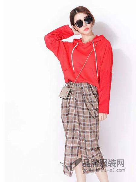 ximonchoo女装品牌2019春季新款纯色连帽宽松上衣休闲卫衣潮