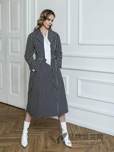 允硕女装品牌2019春季长款外套直筒大衣