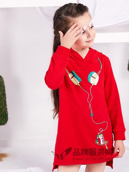捷米梵童装品牌2019春季红色耳机印花长袖连衣裙