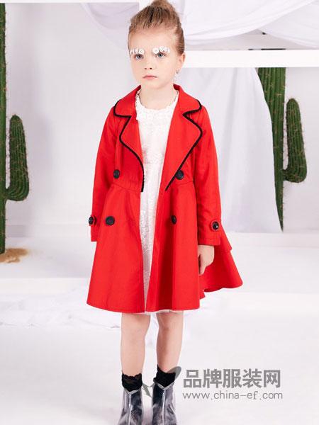 捷米梵童装品牌2019春季纯棉无帽枚红色风衣中长款外套