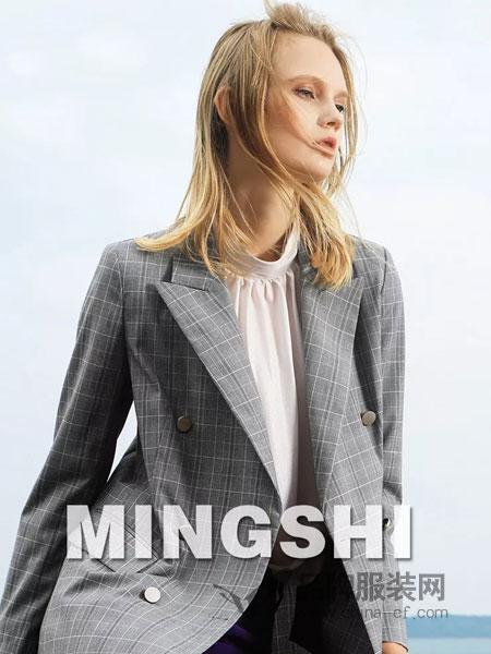 名实女装品牌2019春季新款休闲格纹短款西服女修身
