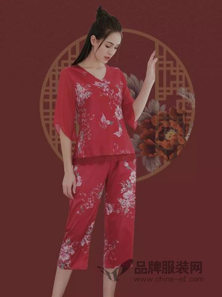 Soeru素芮内衣品牌2019春夏红色纯棉长袖长裤家居服套装可外穿