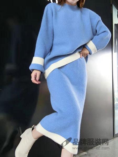 色彩一秀女装品牌2018秋冬时尚百搭条纹拼色宽松显瘦羊绒毛衣套装