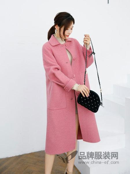 色彩一秀女装品牌2018秋冬翻领长袖单排扣口袋双面羊绒大衣长款外套