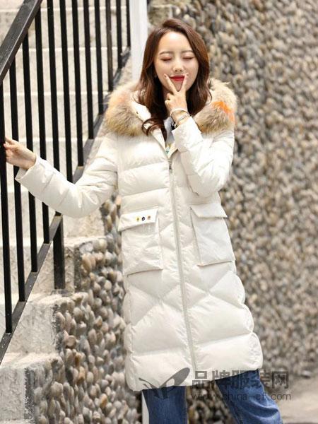 色彩一秀女装品牌2018秋冬韩版中长款修身棉衣气质简约棉袄
