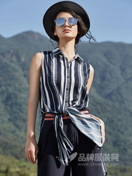 弗蔻Fu Kou女装品牌2019春季无袖条纹高腰两件套