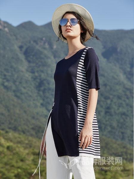 弗蔻Fu Kou女装品牌2019春季撞色条纹两件套