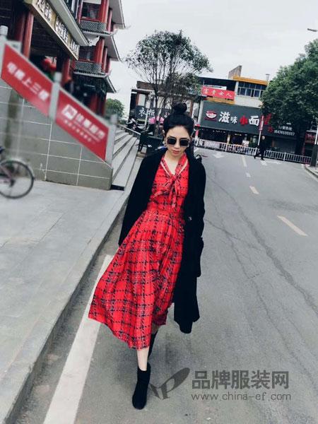 彩知丽CZHLE女装品牌2019春季韩版淑女印花连衣裙