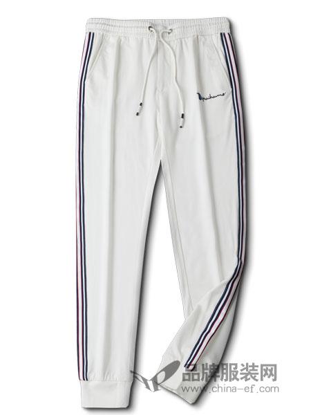 的派男装品牌2019春季纯色修身格子运动裤
