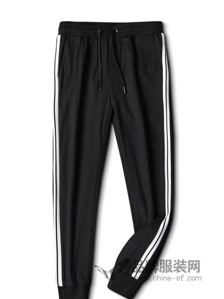 的派男装品牌2019春季修身格子运动裤