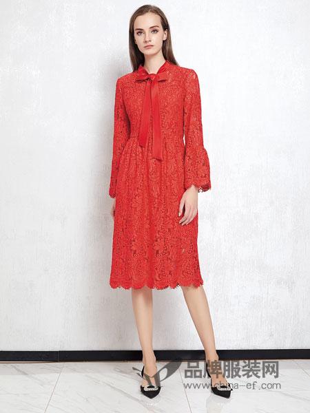 JAOBOO 乔帛女装品牌2019春季系带优雅粉拼接蕾丝连衣裙