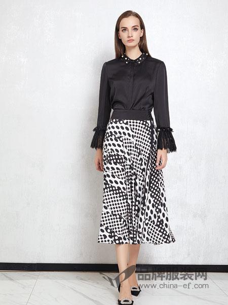 JAOBOO 乔帛女装品牌2019春季桑蚕丝上衣宽松百搭手工钉珠长袖衬衣