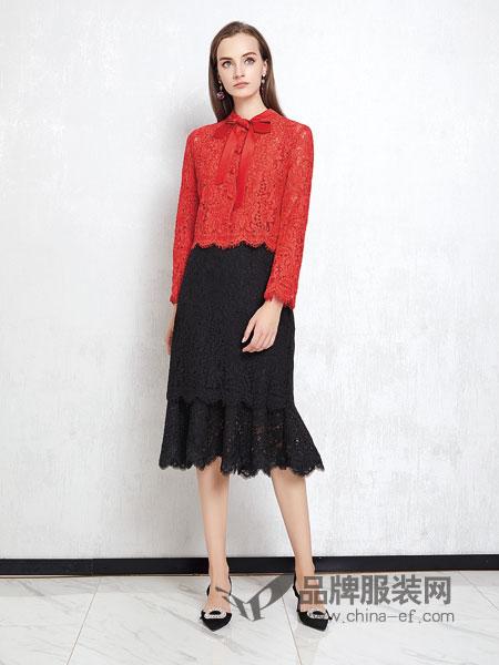 JAOBOO 乔帛女装品牌2019春季新款长袖立领蕾丝拼色修身中长款连衣裙