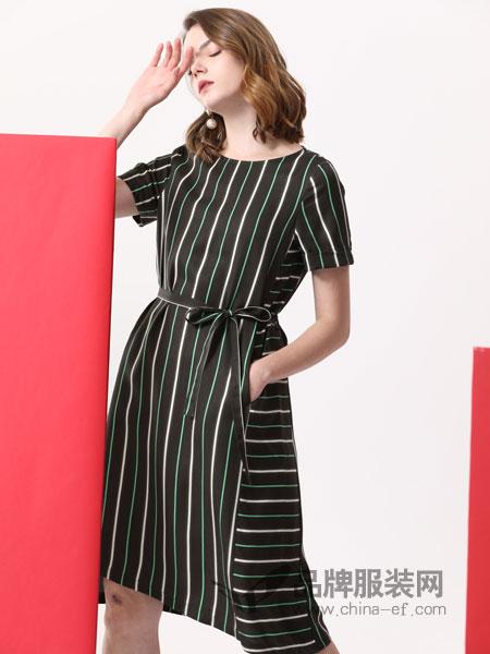 真斯贝尔女装品牌2019春季新款复古收腰系带显瘦时尚气质裙子