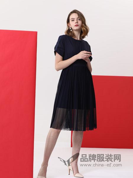 真斯贝尔女装品牌2019春季圆领短袖中长款网纱气质雪纺连衣裙