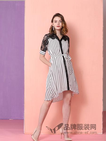 真斯贝尔女装品牌2019春季气质优雅单排扣系带条纹蕾丝拼接连衣裙
