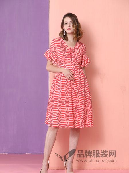 真斯贝尔女装品牌2019春季格子喇叭袖方领中长款瘦腰小清新荷叶边裙