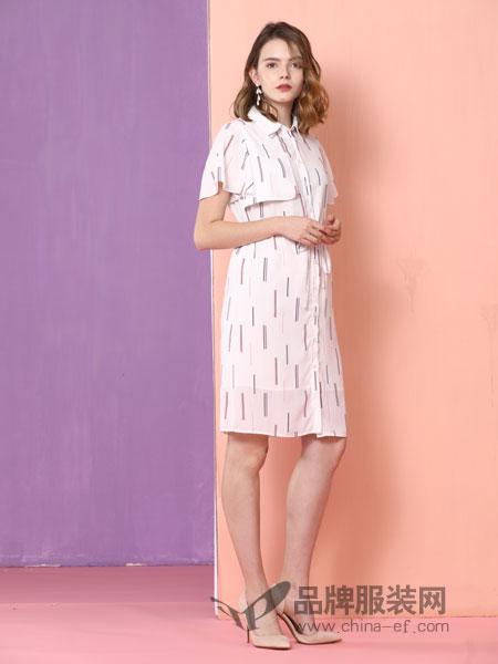 真斯贝尔女装品牌2019春季时尚韩版修身显瘦中长款短袖连衣裙