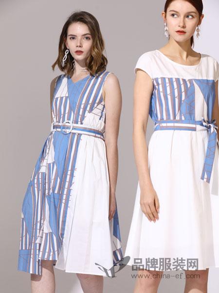 真斯贝尔女装品牌2019春季新款极简宽松复古显瘦长裙