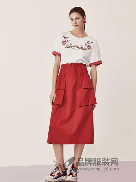 LEISURE女装品牌2019春季收腰显瘦气质休闲中长裙子潮