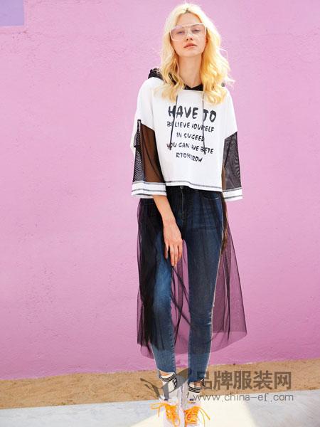 SHUIYAN水言女装品牌2019春季卫衣衫连帽拼接网布印花宽松T恤衫