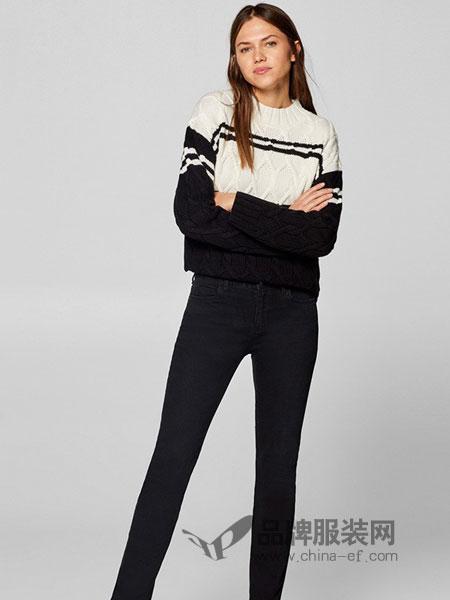 Esprit埃斯普利特女装品牌2019春季新款牛仔裤女时尚黑色简约直筒棉弹裤子