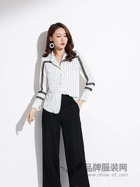 爱依莲女装品牌2019春季修身显瘦性感镂空蕾丝拼接长袖条纹衬衫