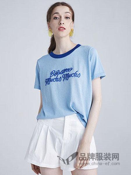 水淼SHUIMIAO女装品牌2019春夏时尚拼色显瘦短袖T恤针织衫