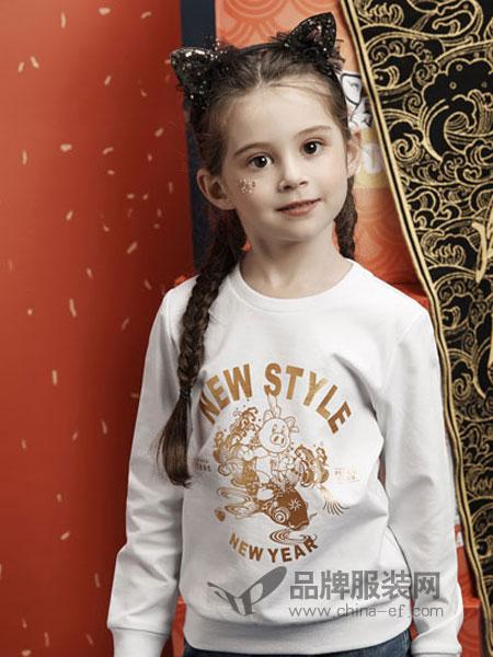 小猪班纳童装品牌2019春季女童圆领卫衣套头衫