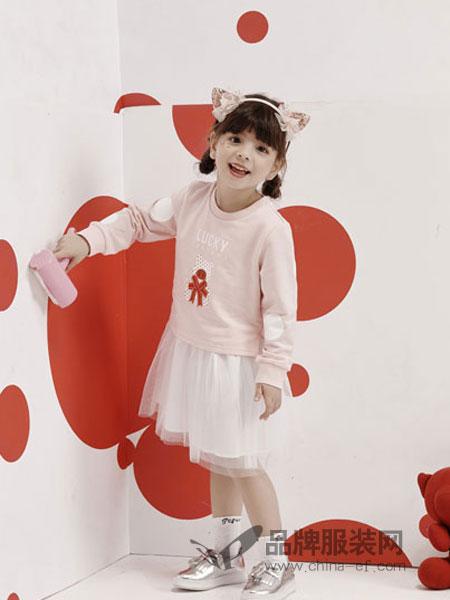 小猪班纳童装品牌2019春季韩版长袖连帽卫衣网纱拼接裙