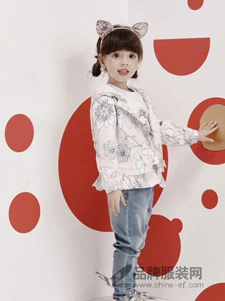 小猪班纳童装品牌2019春季宽松显瘦印花长款棒球服外套潮