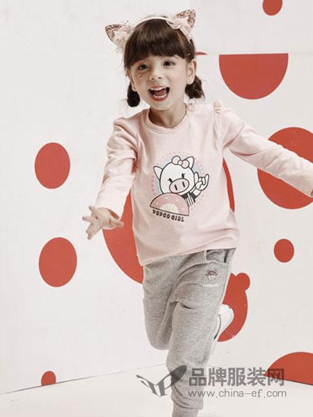 小猪班纳童装品牌2019春季女童圆领长袖T恤