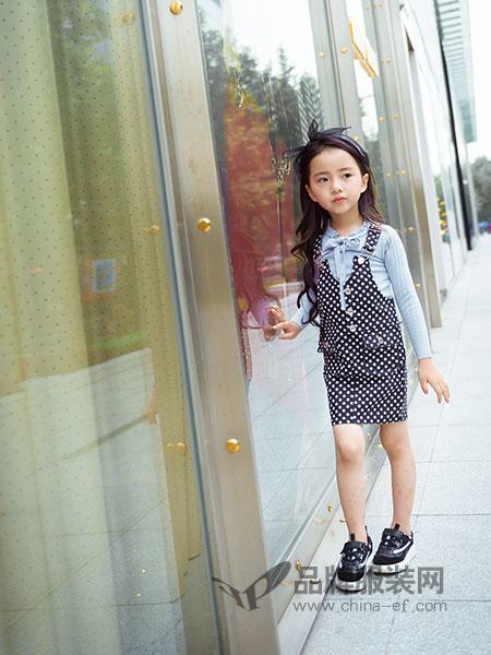 瓢虫之家童装品牌2019春季黑色圆点背带裙